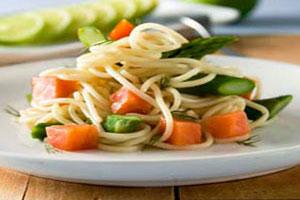 Спагетти с копченым лососем и спаржей