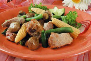Жареная свинина с кукурузой