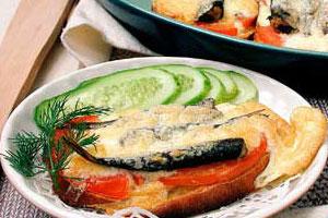 Горячая закуска с сардинами