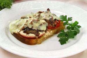 Сырные тосты с грибами