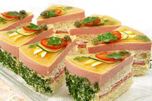 Бутербродный торт с ветчинным муссом