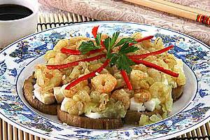 Салат из баклажанов с креветками