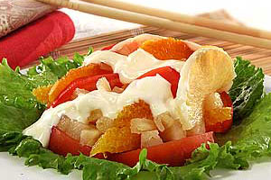 Салат из ананаса с помидорами