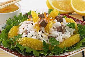 Салат рисовый с мясом